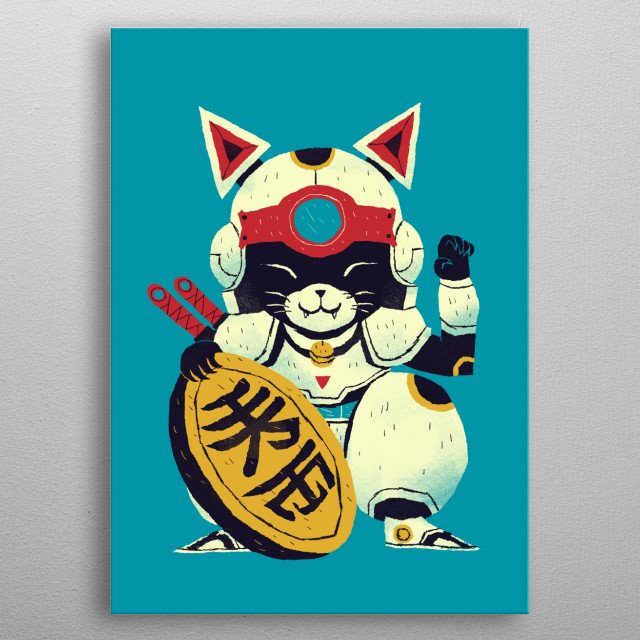 lucky pizza cat metal poster