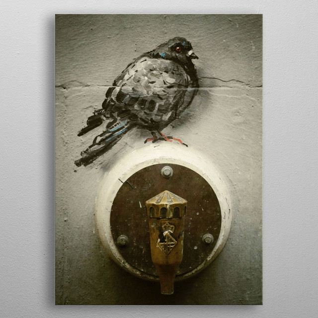 The pigeon landed on the water fountain metal poster