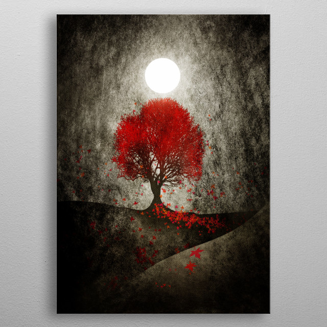Red autumn. metal poster