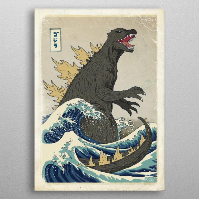 The Great Godzilla off Kanagawa metal poster