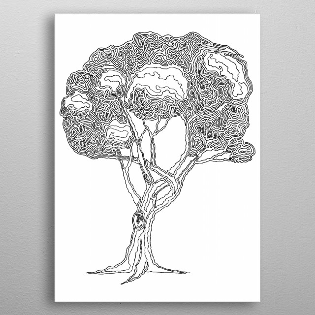 Tree 04, One Liner metal poster
