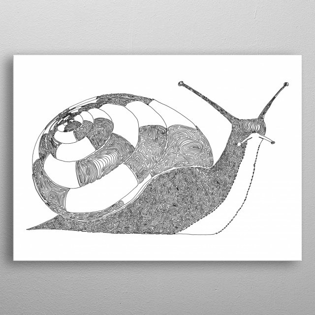 Snail, One Liner The line starts in the center of the shell and ends near the leftmost pice of the tail. metal poster