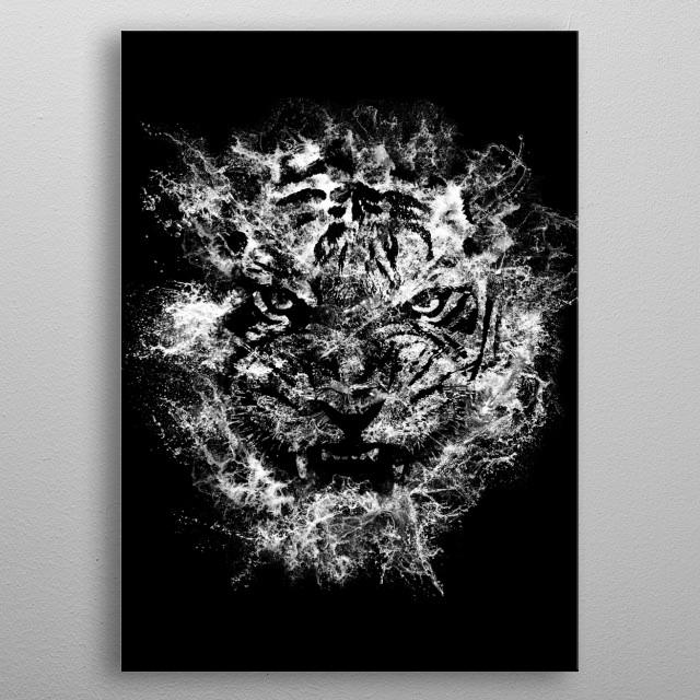 Aqua Camouflage metal poster