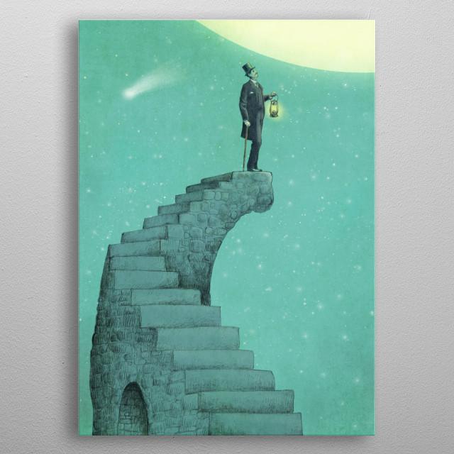 Moon Steps metal poster
