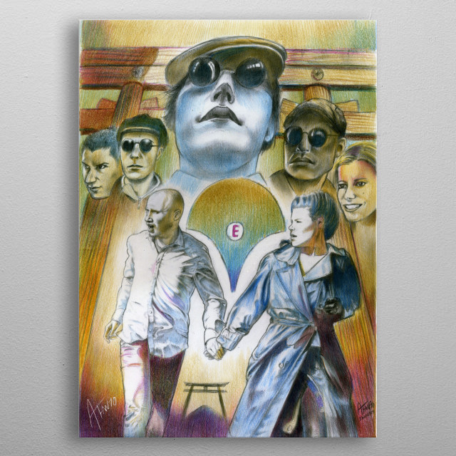 """Alessandro Fantini, """"EDOnism"""", third poster, pencil, ink, pastel and ball point pen on cardboard (2010) metal poster"""