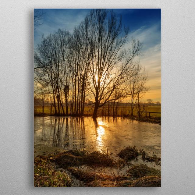 Sunset on pond metal poster