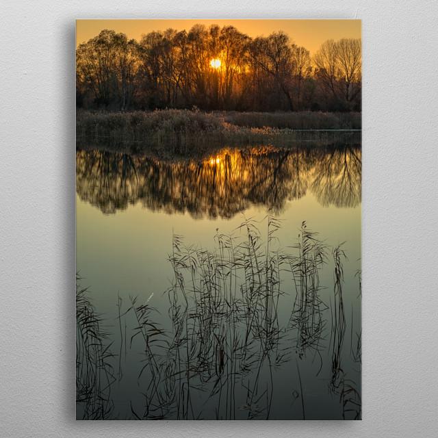 Sunset on lake metal poster