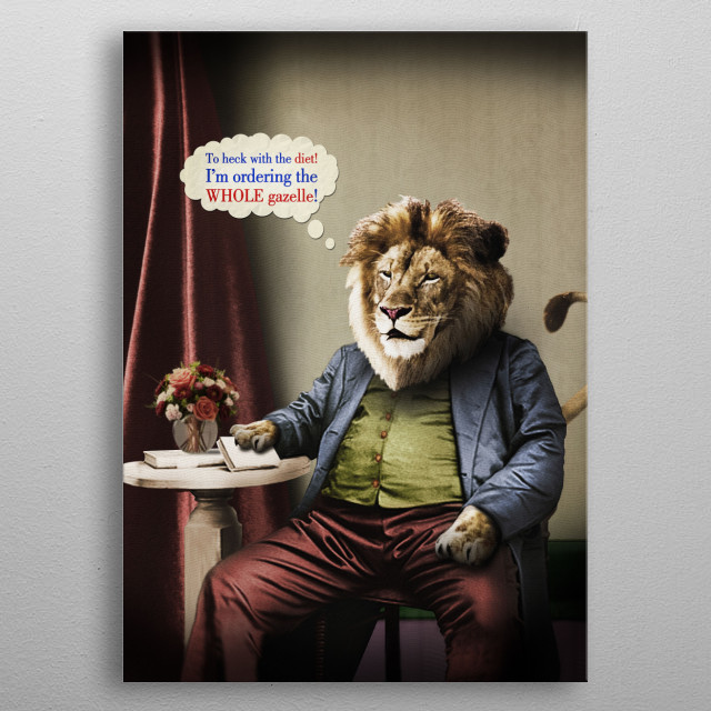 Hungry Lion metal poster