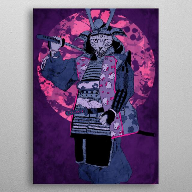 Samurai Kitty metal poster