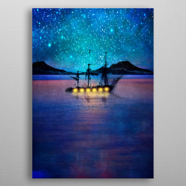 Ship in the lights metal poster