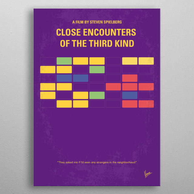 No353 My ENCOUNTERS OF THE THIRD KIND minimal movie poster  After an encounter with U.F.O.s, a line worker feels undeniably drawn to an isola... metal poster