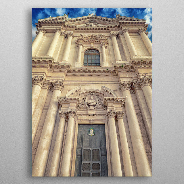 Facade of the cathedral metal poster