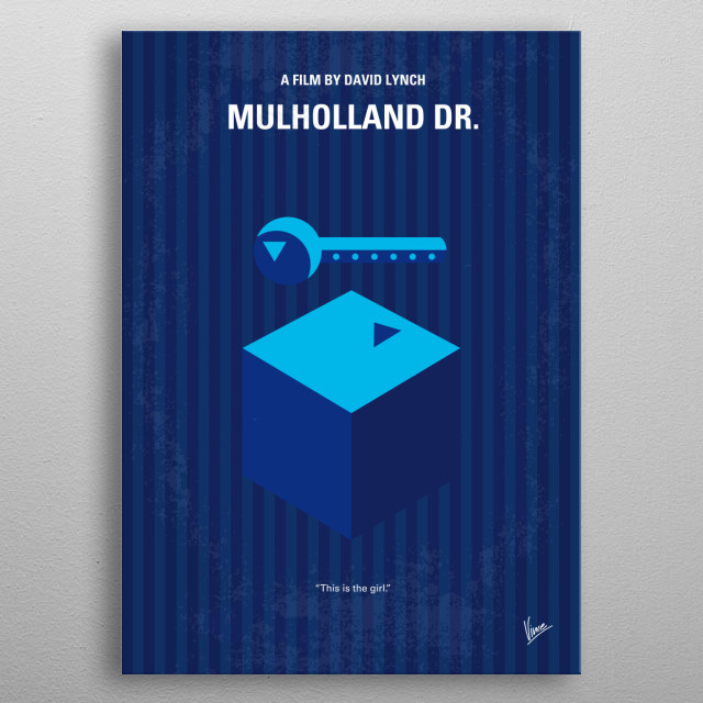 No323 My MULHOLLAND DRIVE minimal movie poster  After a car wreck on the winding Mulholland Drive renders a woman amnesiac, she and a perky H... metal poster