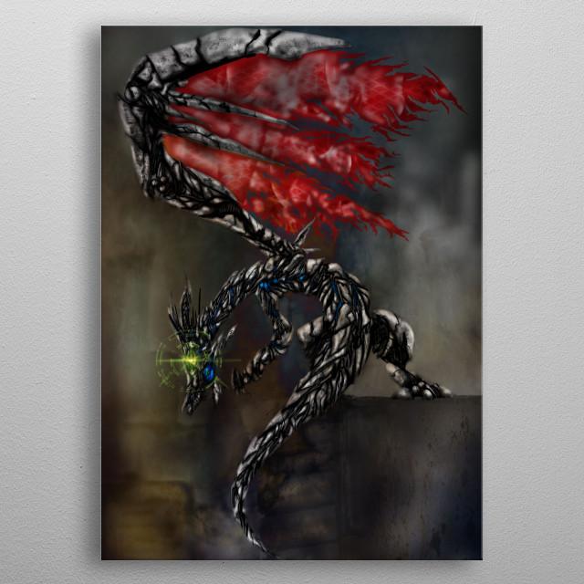 Mecha Dragon metal poster