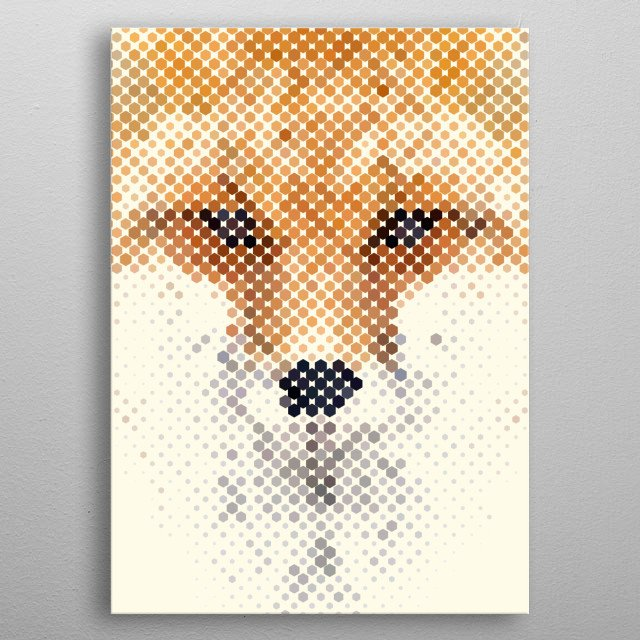 Abstract Fox Portrait metal poster