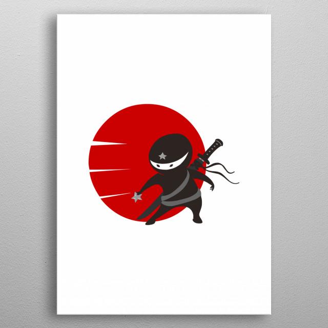 Little Ninja Star metal poster