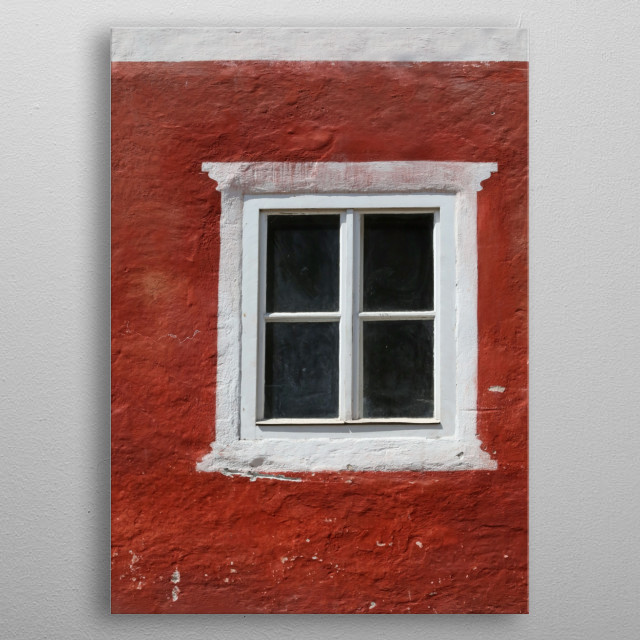 White Window on Red metal poster