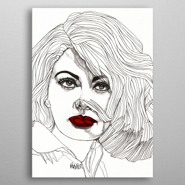 Sophia with Red Lips Part of my 'Red Lips' series. The Original illustration is on A4 fine grain cartridge paper, 160g, acid free. Pencil metal poster