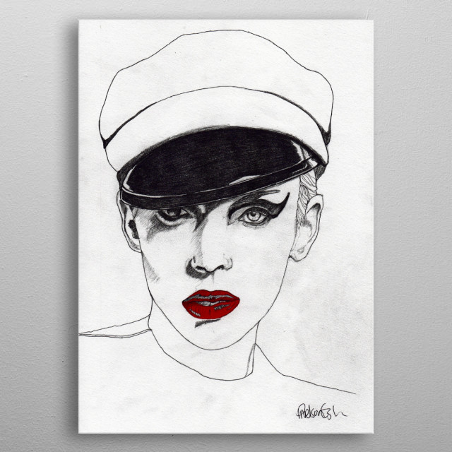 The Chauffeur Part of my ''Red Lips' series. The Original illustration is on A4 fine grain cartridge paper, 160g, acid free. Pencil and Panto... metal poster