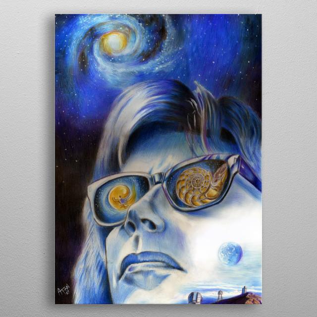 Alessandro Fantini - Starswatcher (Jean Michel Jarre's Astronomy Year) (2009) Pencil, ink, watercolor pastel on cardboard metal poster