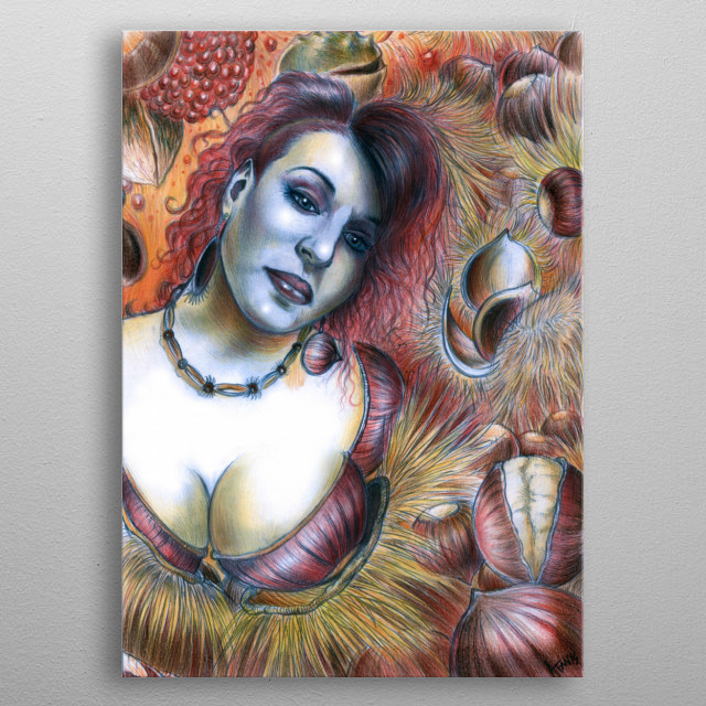 Alessandro Fantini - Scent of ChestNut (2014) Pencil and watercolor pastel on cardboard.  Model: Karina Marandjian metal poster