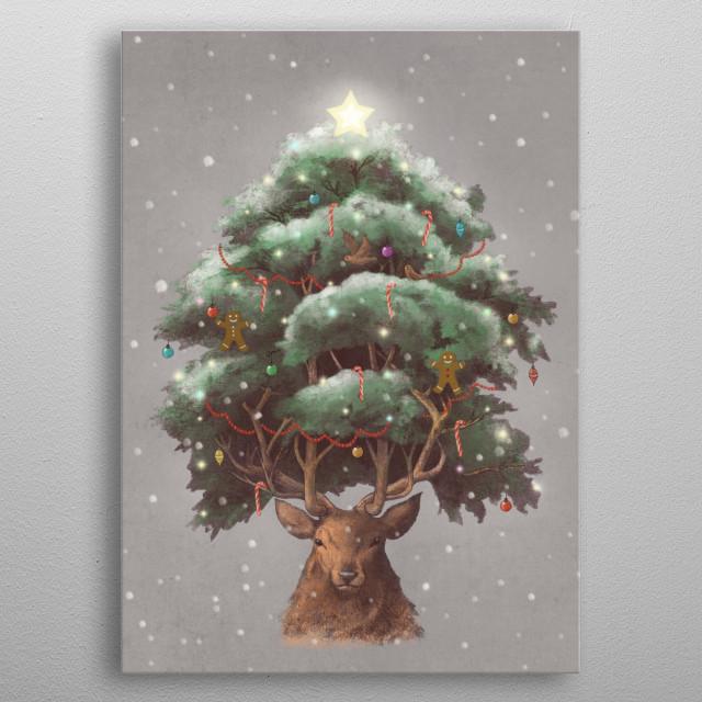 Reindeer Tree metal poster