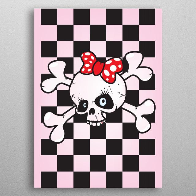 Girl power skull metal poster