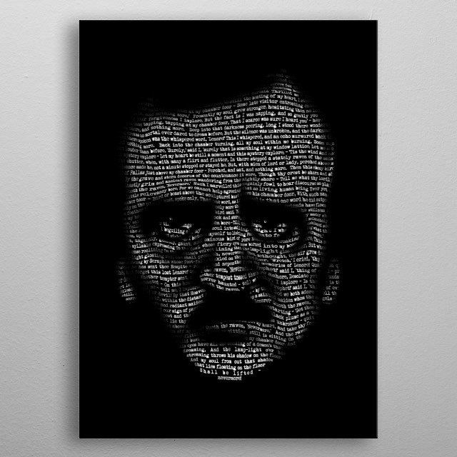 Nevermore - A Portrait of Edgar Allan Poe Created using the text from his poem The Raven. metal poster