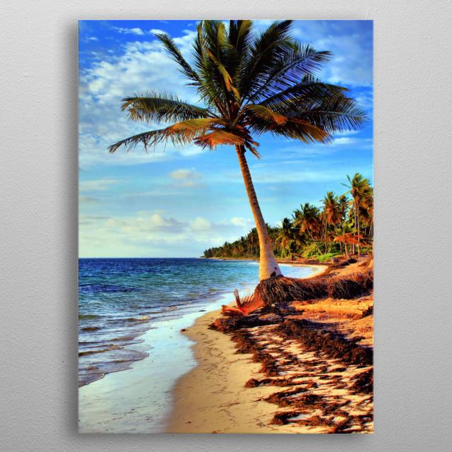 Tropical Island Beach metal poster