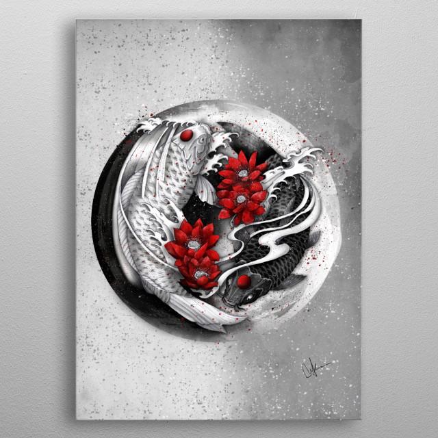Balance [ Yin-yang koi] metal poster