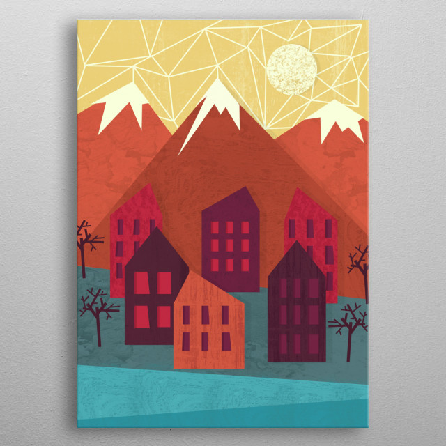 Mountains metal poster