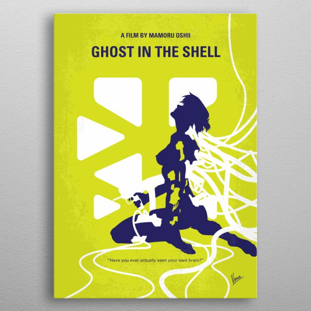 No366 My Ghost in the Shell minimal movie poster A female cyborg cop and her partner hunt a mysterious and powerful hacker called the Puppet ... metal poster