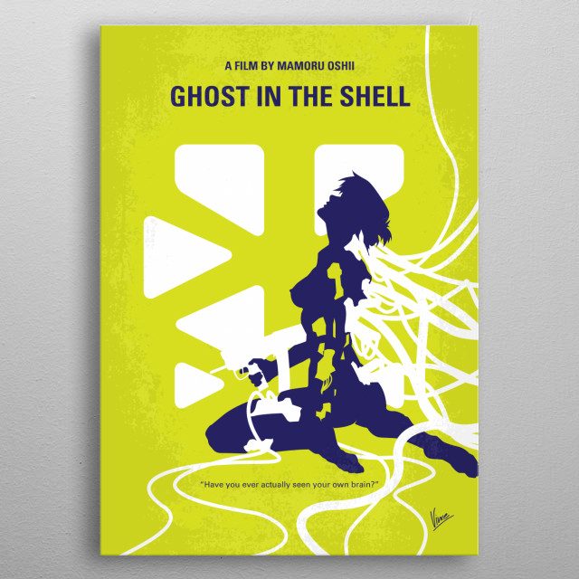No366 My Ghost in the Shell minimal movie poster A female cyborg cop and her partner hunt a mysterious and powerful hacker called the Puppet Master.  Director: Mamoru Oshii Stars: Atsuko Tanaka, Iemasa Kayumi, Akio Ôtsuka metal poster