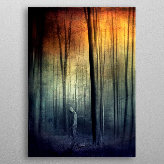 Surreal forest scene with a man seemingly rooted into the ground metal poster