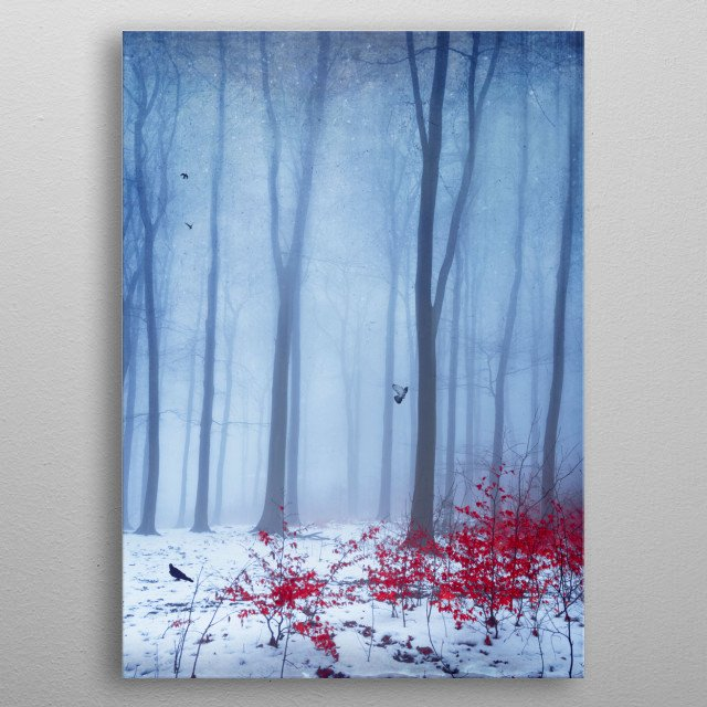 Abstraction of a german beech tree forest on a cold misty winter day. Texturized and manipulated photograph metal poster
