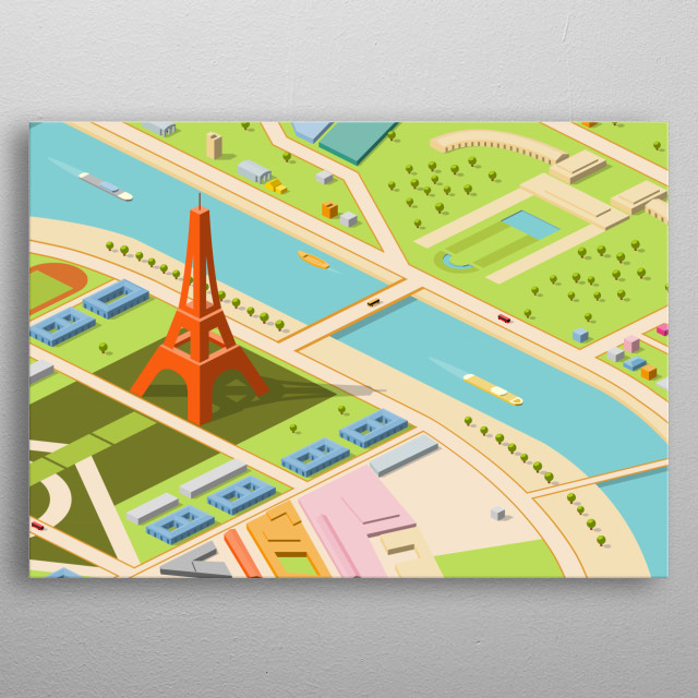 eiffel and environs - isometric metal poster