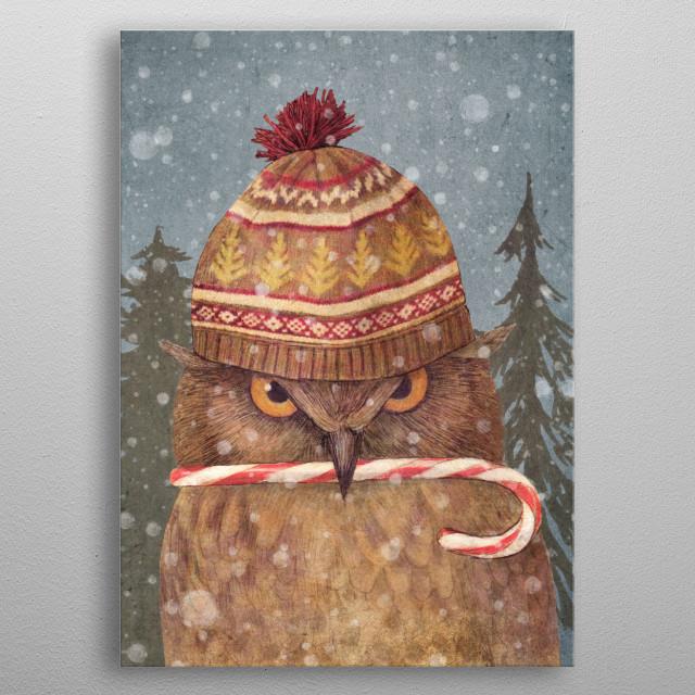 Christmas Owl metal poster