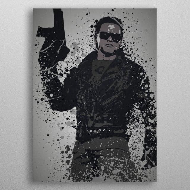 """Ill be back"" Splatter effect artwork inspired by Terminator metal poster"