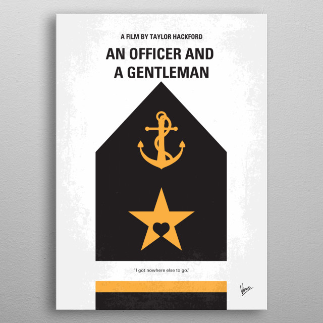 No388 My An Officer and a Gentleman minimal movie poster  A young man must complete his work at a Navy Flight school to become an aviator, wi... metal poster