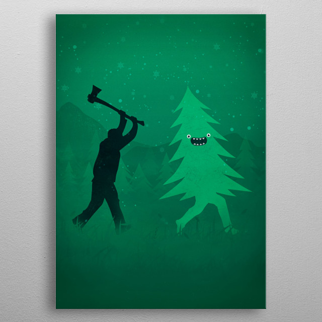 Funny Cartoon Christmas tree is chased by Lumberjack / Run Forrest, Run! metal poster