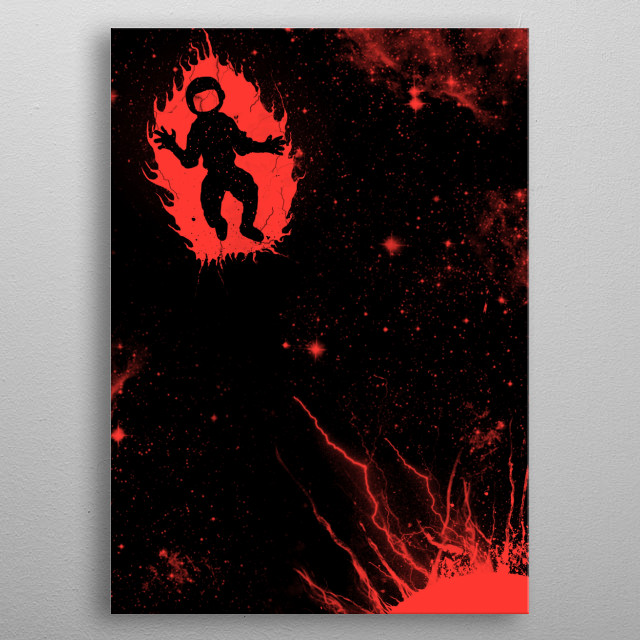 astronaut on fire metal poster