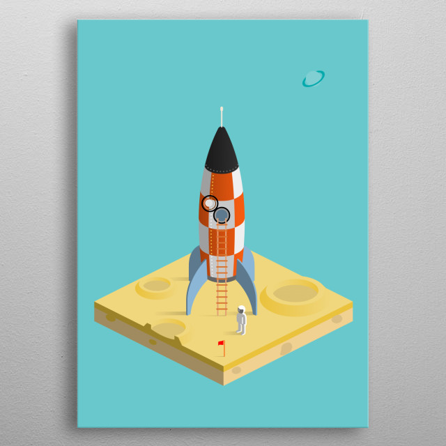 man on the moon metal poster