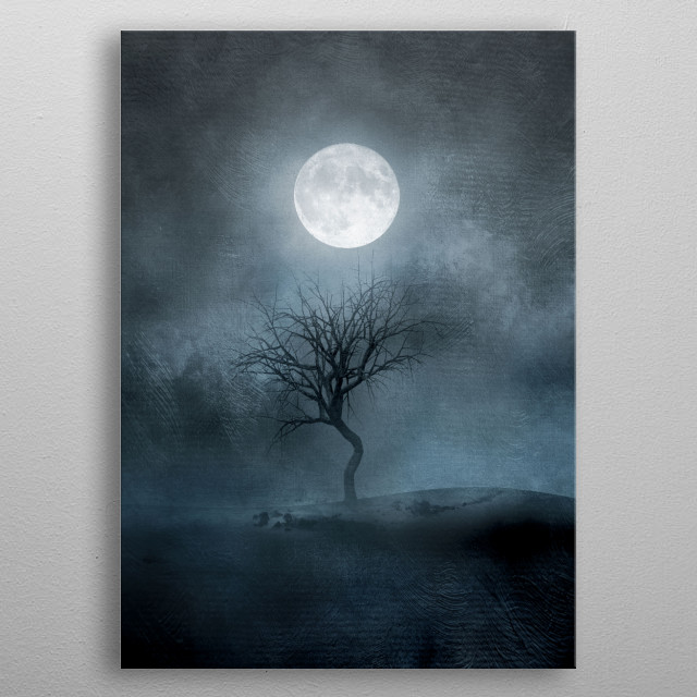 The moon and the Tree II metal poster