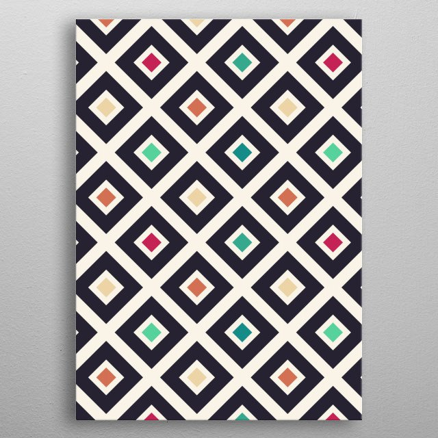 Modern Trendy Geometric Patter in Fresh Vintage Coffee Style Colors metal poster