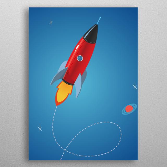 red shiny rocket metal poster