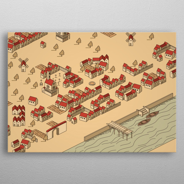 fishing village metal poster