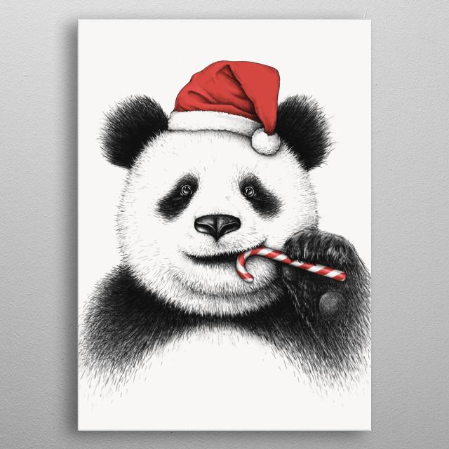 Festive Panda metal poster