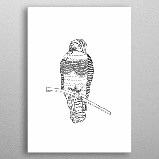 Harold the Hawk. Created for a friend of mine as a gift for his girlfriend. They found Harold, injured, near a brewery in town and nursed him back to health, eventually taking him to a wildlife preserve where he is currently thriving. This is Harold. metal poster