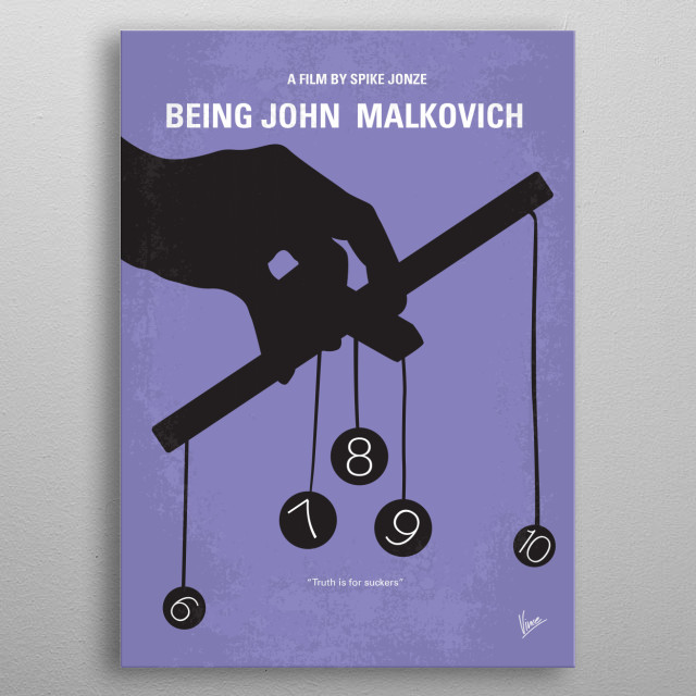 No009 My Being John Malkovich minimal movie poster  A puppeteer discovers a portal that leads literally into the head of the movie star, John... metal poster