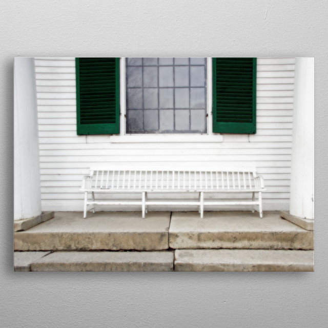 Colonial Style White Bench with Emerald Green metal poster